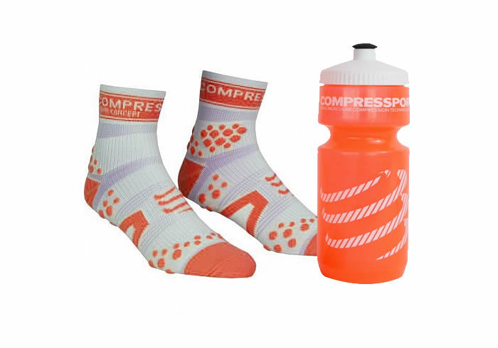 calcetines compressport con bidon