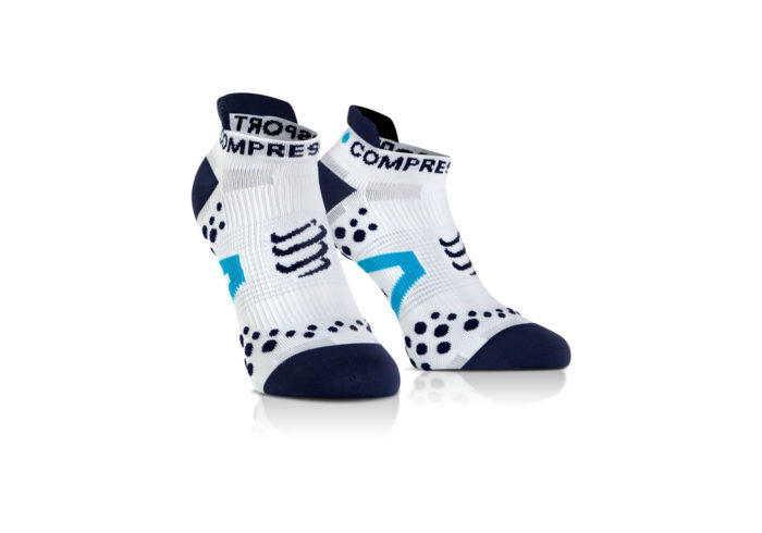 Calcetines Bajos Compressport Proracing Socks V2_1 blanco-azul