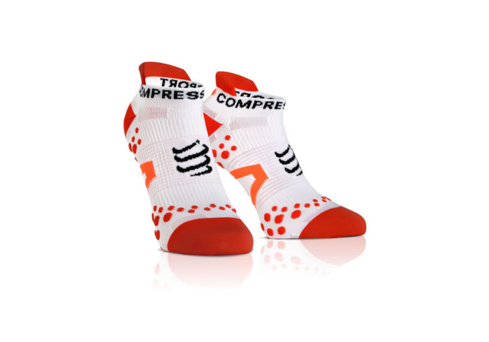 Calcetines Bajos Compressport Proracing Socks V2_1 blanco-naranja