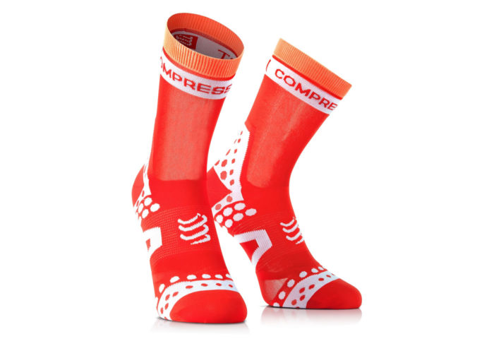 Calcetines Ciclismo Compressport PRORACING SOCKS ULTRALIGHT naranja-blanco