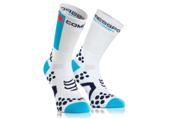 Calcetines Ciclismo Compressport PRORACING SOCKS blanco-azul
