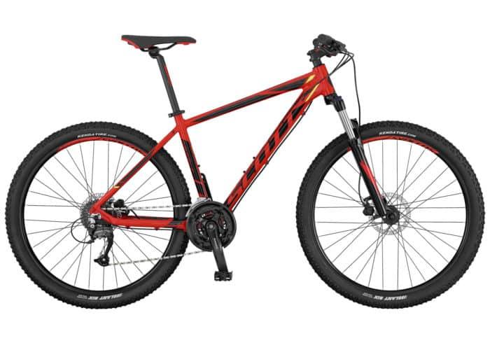Scott Aspect 750-950 2017 roja-negra. La Aspect 750 de SCOTT es una bicicleta rígida sin suspensión trasera, diseñada para ser ligera, eficaz y de precio razonable. La horquilla cuenta con el mecanismo de bloqueo, los frenos son de disco y los componentes de Syncros. Es el modelo perfecto para principiantes o para usuarios de bicicleta de montaña que se guíen por el presupuesto.