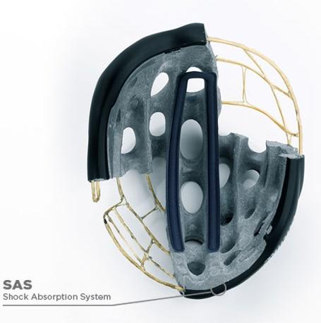 Tecnología SAS. El Mixino tiene un diseño preparado para que en caso de impacto la cabeza sufra el mínimo daño posible. Para ello en la parte interior delantera del casco se ha insertado el poliestireno expandido, un material que por su composición está preparado para absorber mejor los impactos.